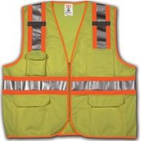 Vest, Job Sight, High Visibility, Short Sleeve, Size Large / Extra Large, Fluorescent Yellow-Green, 2 Inch Silver Reflective Tape, 3 Interior and 5 Exterior Pockets, 12 Inch Plastic Zipper, Polyester